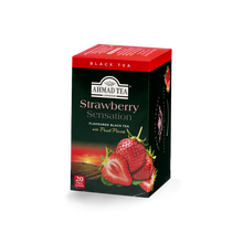 Load image into Gallery viewer, strawberry sensation flavored black tea with fruit pieces sips by ahmad tea london
