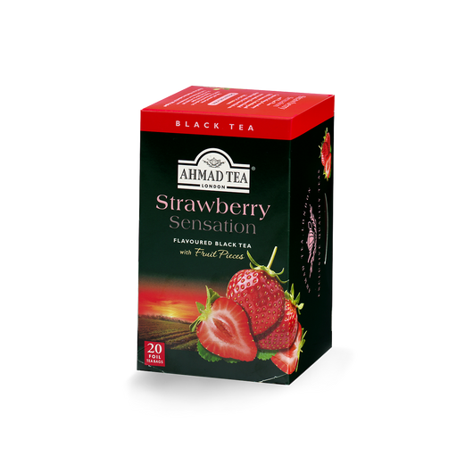 strawberry sensation flavored black tea with fruit pieces sips by ahmad tea london