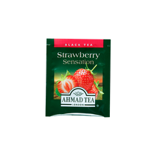 Load image into Gallery viewer, strawberry sensation flavored black tea with fruit pieces sips by ahmad tea london tea bags