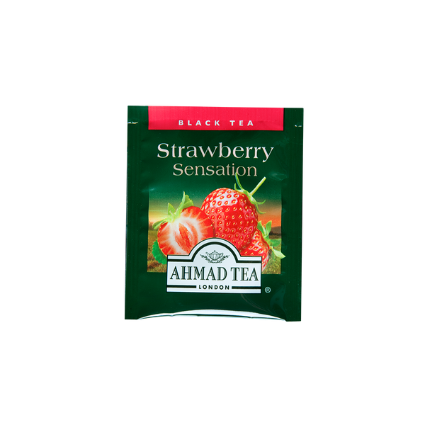 strawberry sensation flavored black tea with fruit pieces sips by ahmad tea london tea bags