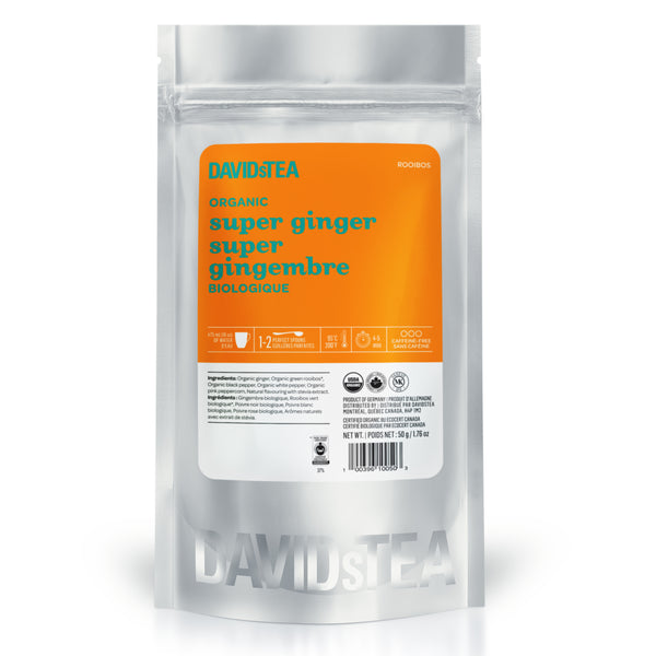organic super ginger sips by davidstea herbal tea blend loose leaf in silver pouch