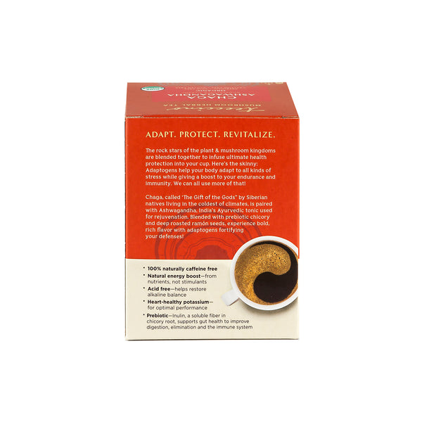 Chaga Ashwagandha Mushroom Adaptogen Herbal Tea