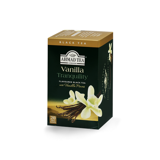 vanilla tranquility flavored black tea with vanilla pods sips by ahmad tea london