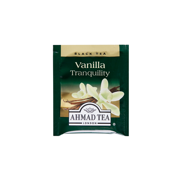 vanilla tranquility flavored black tea with vanilla pods sips by ahmad tea london tea bags