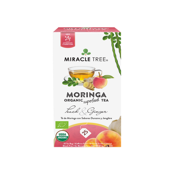 Organic Moringa Herbal Tea - Peach & Ginger