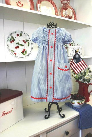 SEW SENTIMENTAL Recycled Dad's Shirt Peasant Dress PDF Pattern - 4th of July Outfit - Reuse Dad's Shirt Upcycled - 4th of July Dress