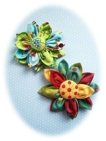Kanzashi Fabric Flower PDF Pattern. Easy to make brooch, pin, bouquet fabric flower.