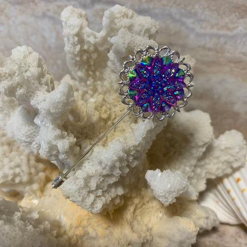 Victorian Antique Inspired Lapel Stick Pin, Vintage Style Focal Iridescent Blue and Purple Rhinestones Encased in Silver Finish Flower Pin