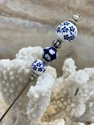 "Blue and White Floral Porcelain Hatpin, Antique Inspired Hat Pin 6"", Christmas Gift Lapel Stick Pin, Hijab Scarf Pin Silver Filigree"