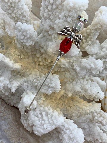 Guardian Angel Beaded Stick Pin. Lapel Angel Stick Pin. Great Christmas Gift with Beautiful Matchbook Cover. Buttionaires for Wedding.