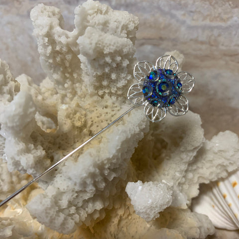 Victorian Antique Inspired Brooch Stick Pin, Vintage Style Focal Iridescent Blue Rhinestones Encased in Silver Finish Flower Pin