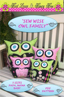 Sew Wise Owl Family Pillow or Bookend PDF Pattern  Easy Child Safe Tutorial 3 Sizes