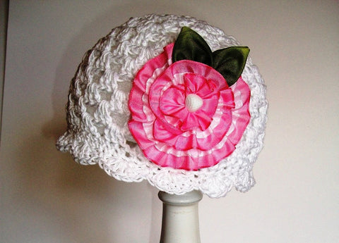 Crochet Cloche Hat Pattern With Ribbon Flower Ola Jane Designs