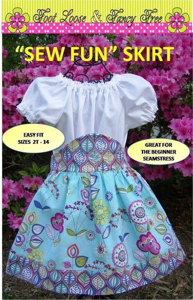 SEW FUN  Skirt Pattern -  Child 2t-14 - Easy PDF Sewing Pattern Handmade Clothing