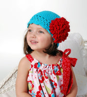 """Roaring 20's"" Crochet Hat Pattern with Fluffy Crochet Flower  - Sizes Newborn-Adult"