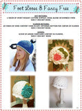 Granny Square Style Crochet Hat Pattern with Fluffy Crochet Flower