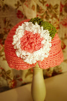 Flapper Style Crochet Hat with Fluffy Crochet Flower Pattern