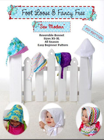 Summer Sunbonnet -  Heirloom Bonnet - Sew Modern  Reversible Bonnet -  Funky and Mod Style - PDF Sewing Pattern - Summer Hat - 3 Versions
