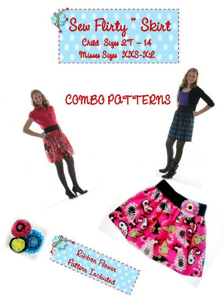 Sew Flirty Toddler to Adult COMBO Skirt Pattern -  Sizes 2T - XXL Adult - Instant Download - Pdf Sewing Pattern Bonus Ribbon Flower