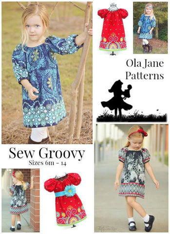 SEW GROOVY Peasant Dress Pattern -  Sizes 6 Months - 14 Child - Tween - Teen PDF Sewing Pattern Downloadable Printable