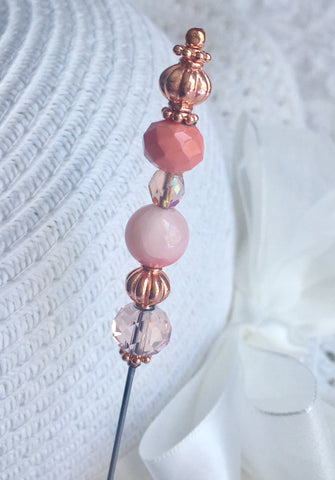 Victorian Antique Inspired Hat Pin, Stick Pin, Scarf Pin or Hijab Rose Gold Crystal Beads