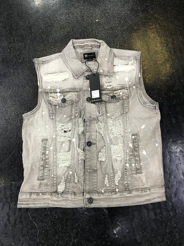 WAIMEA Denim Vest Stones and Splatter