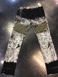Vintage Americana studded jeans wit leather