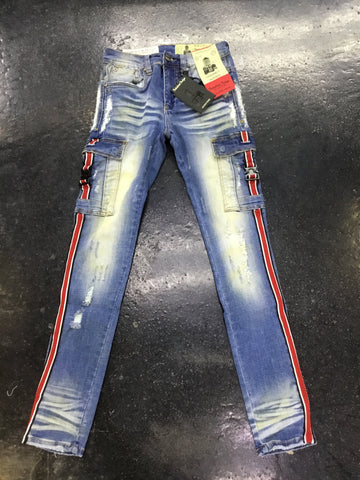 Industrial Indigo Cargo taping jeans