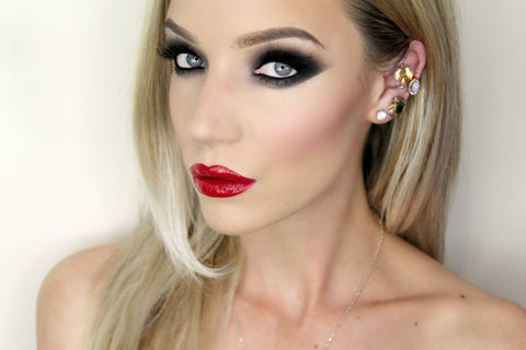 Black Smokey Eyes with Red Lips