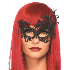 Fantasy Venetian Applique Eye Mask - Black LA-3747BLK