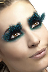 beautiful woman wearing Black with Teal Dots Feather Eyelashes