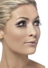 Side view of woman wearing long black eyelashes