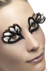 woman wearing Brown and White Feather Eyelashes