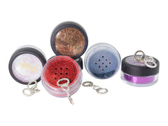 Set of bright sexy glitter with the red glitter jar open