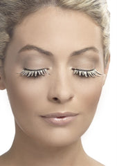 Woman wearing stunning blonde fabric lashes