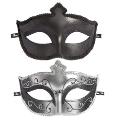 Silver and black masquerade mask set