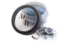 Jar of rich blue highly pigmented eye and face glitter