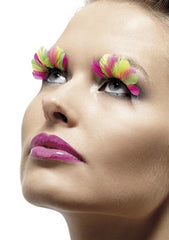 Bright pink and yellow fake eyelashes