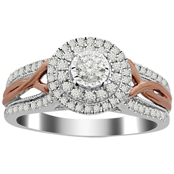 14K Two Tone 1/2CTTW Diamond Engagement Ring - Crestwood Jewelers