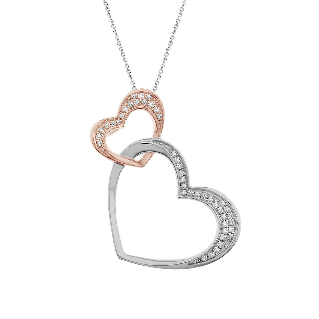 10K Two Tone Double Diamond Heart Pendant