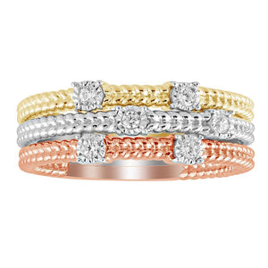 Tri Color Stacked Band Set - Crestwood Jewelers