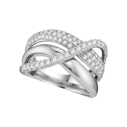 1.00 CTTW White Gold Diamond Crossover Ring - Crestwood Jewelers