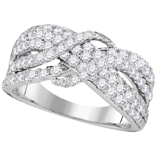 14k White Gold Round Diamond Crossover Strand Band 1-1/2 Cttw