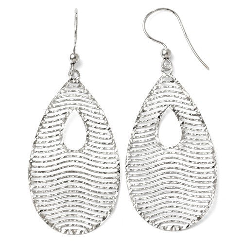 4k White Gold Dangle Shepherd Hook Earrings - Crestwood Jewelers