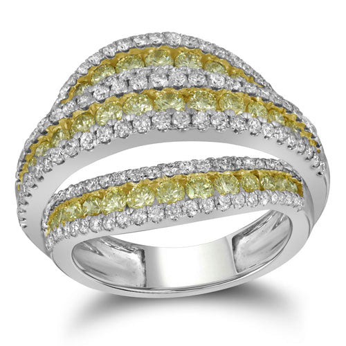 2 5/8 CTTW White & Yellow Diamond Ring