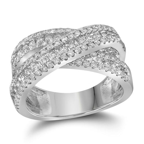 14kt White Gold Womens Round Pave-set Diamond Crossover Cocktail Band 2-1/3 Cttw