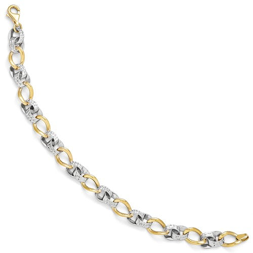 10k Two-Tone Polished And Diamond-Cut Link Bracelet - Crestwood Jewelers