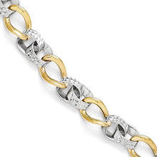 10k Two-Tone Polished And Diamond-Cut Link Bracelet