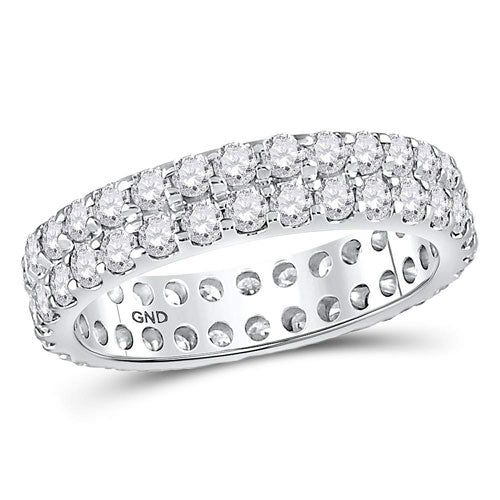 14k White Gold Round Diamond Double Row Eternity Wedding Band 2 Cttw