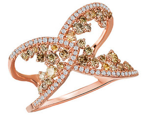 14K Rose Gold Multi Colored Diamond Fashion Ring - Crestwood Jewelers